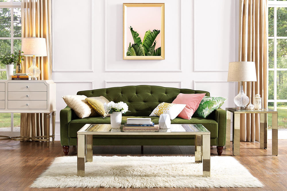 Clearance Furniture In Houston Green Velour Vintage Style Sofa Bed