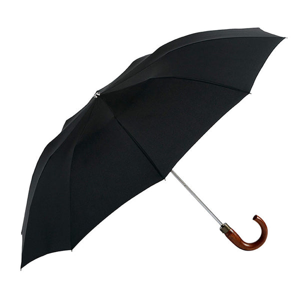 LARGE FOLDING AUTOMATIC BLACK UMBRELLA WITH WOOD CROOK HANDLE