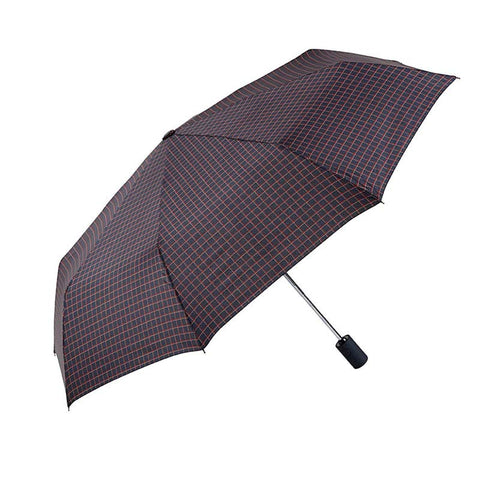 MENS GRID PATTERNED FULLY AUTOMATIC FOLDING UMBRELLA