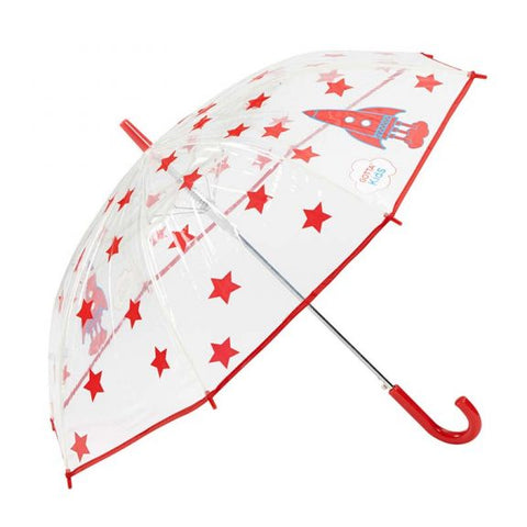 ROCKETS AND STARS KIDS CLEAR UMBRELLA