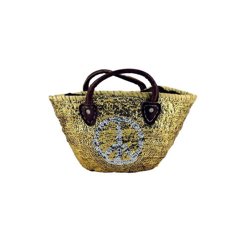 Stunning Natural Peace Sign Sequin Straw Beach Bag