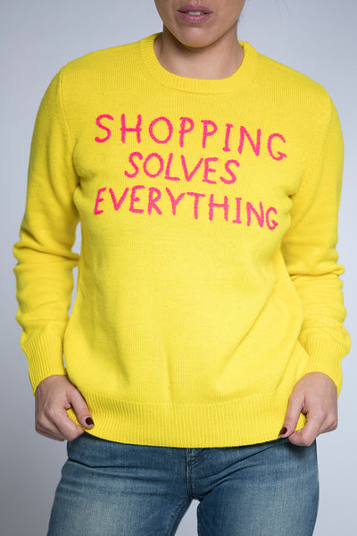 QUE0001EMSE91 MC2 SAINT BARTH ΚΙΤΡΙΝΟ ΠΟΥΛΟΒΕΡ ΜΕ ΚΕΝΤΗΜΑ ¨SHOPPING SOLVES EVERYTHING¨