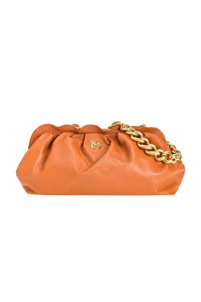 PINKO MAXI CHAIN CLUTCH ΚΑΦΕ 1P2237Y6Y8 shoulder bag τσαντα ωμου
