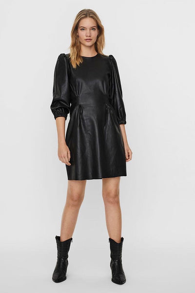 10237765 VERO MODA PUFF SLEEVED MINI ΦΟΡΕΜΑ ΜΑΥΡΟ