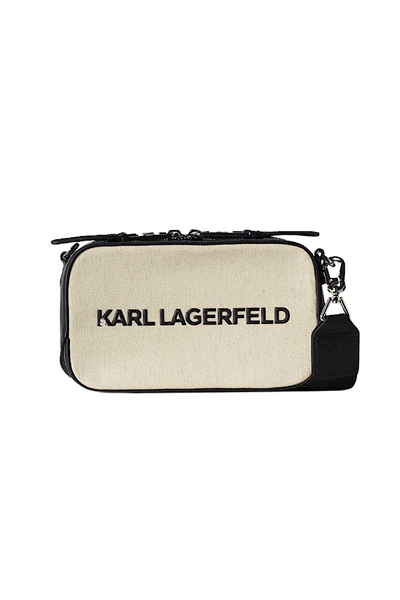 KARL LAGERFELD K/SKUARE CANVAS CAMERA BAG 211W3017 NATURAL