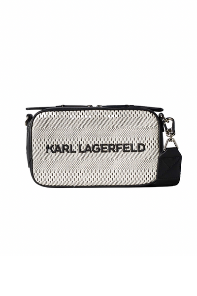 KARL LAGERFELD K/SKUARE CANVAS CAMERA BAG 211W3019 ΑΣΠΡΟ/ ΜΑΥΡΟ