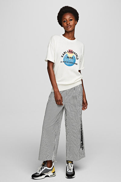 KARL LAGERFELD CROPPED COTTON PANTS  201w1003 καμπανα