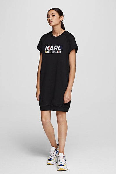 KARL LAGERFELD BAUHAUS LOGO SWEATSHIRT TEE DRESS μαυρο black 210W1817