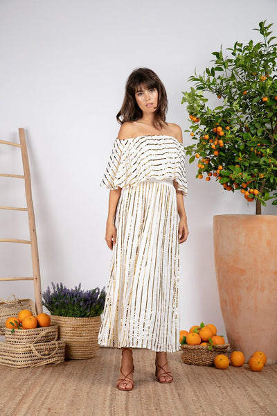 SUNDRESS JOSEPHINE MIDI WHITE/GOLD ΦΟΡΕΜΑ S20062 josephine