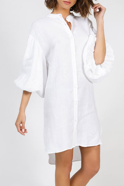 MR MOOD Mrs Balon Linen Shirtdress– White