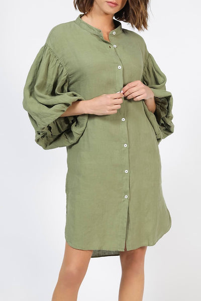 MR MOOD Mrs Balon Linen Shirtdress – Militar Green