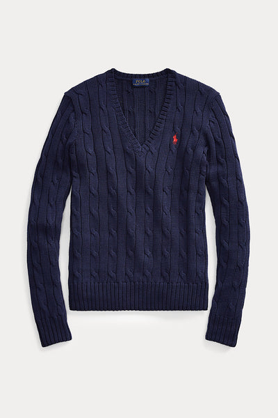RALPH LAUREN V-NECK JUMPER ΜΠΛΕ ΣΚΟΥΡΟ 211580008007