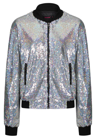 Disco Ball Holographic Bomber