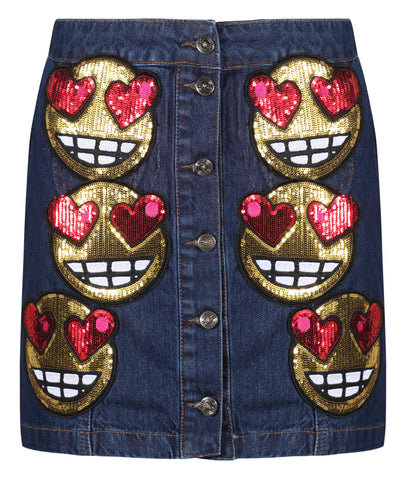 Sequin Emoji Denim Skirt