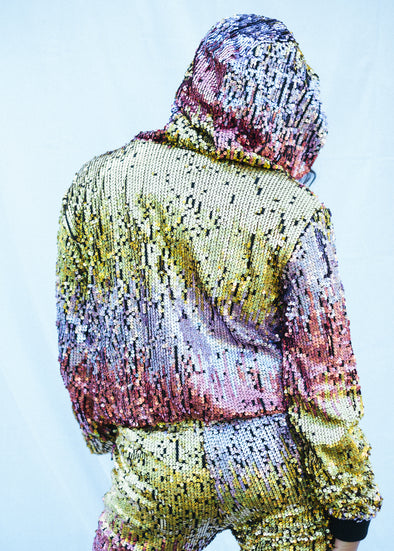 CYBER SUNRISE HOLOGRAPHIC HOODED BOMBER