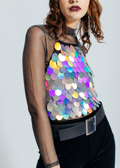 Disc-o diva sequin crop