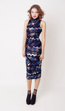 Indigo Rave High Neck Midi Dress