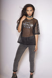 Bad Girls Club Sequin Mesh Tee