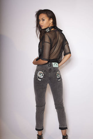 Sequin Skull Acid Wash Jeans
