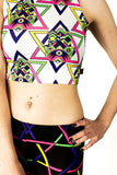 Hamsa White High Neck Crop
