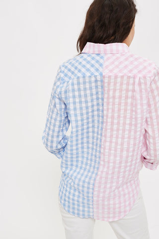 Call Me! Spliced Gingham Shirt