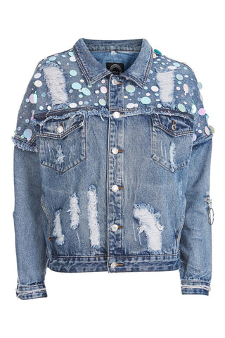 Sequin Mermaid Oversized denim Jacket