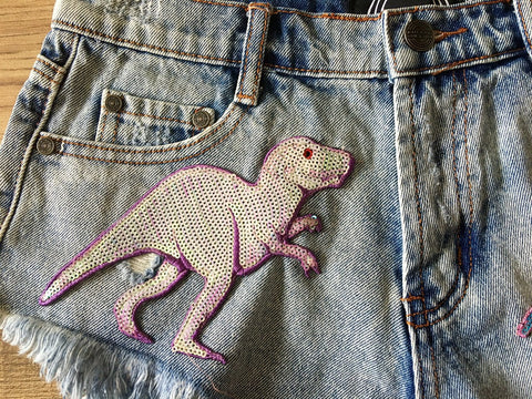 High Rise Dinosaur Patch Shorts