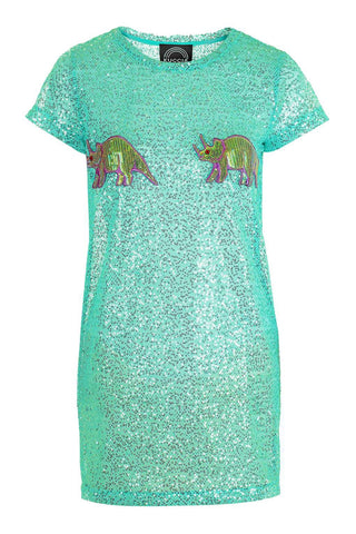 Sequin Mesh Dinosaur Dress
