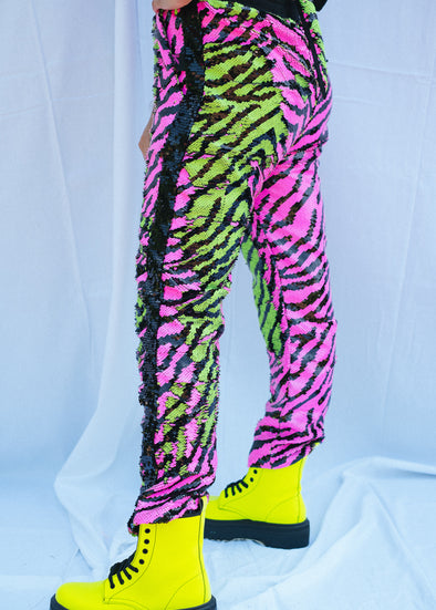Neon Safari Sequin Joggers