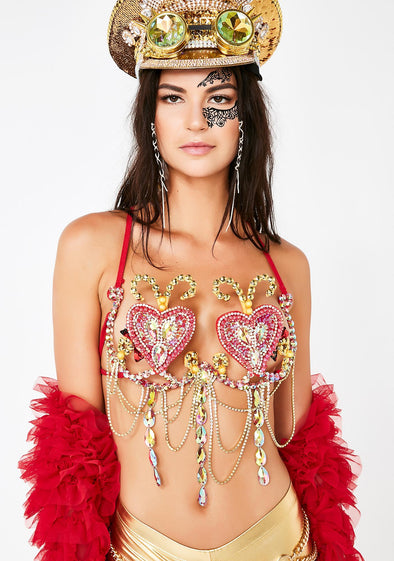 LOVE HEART JEWELED BRA