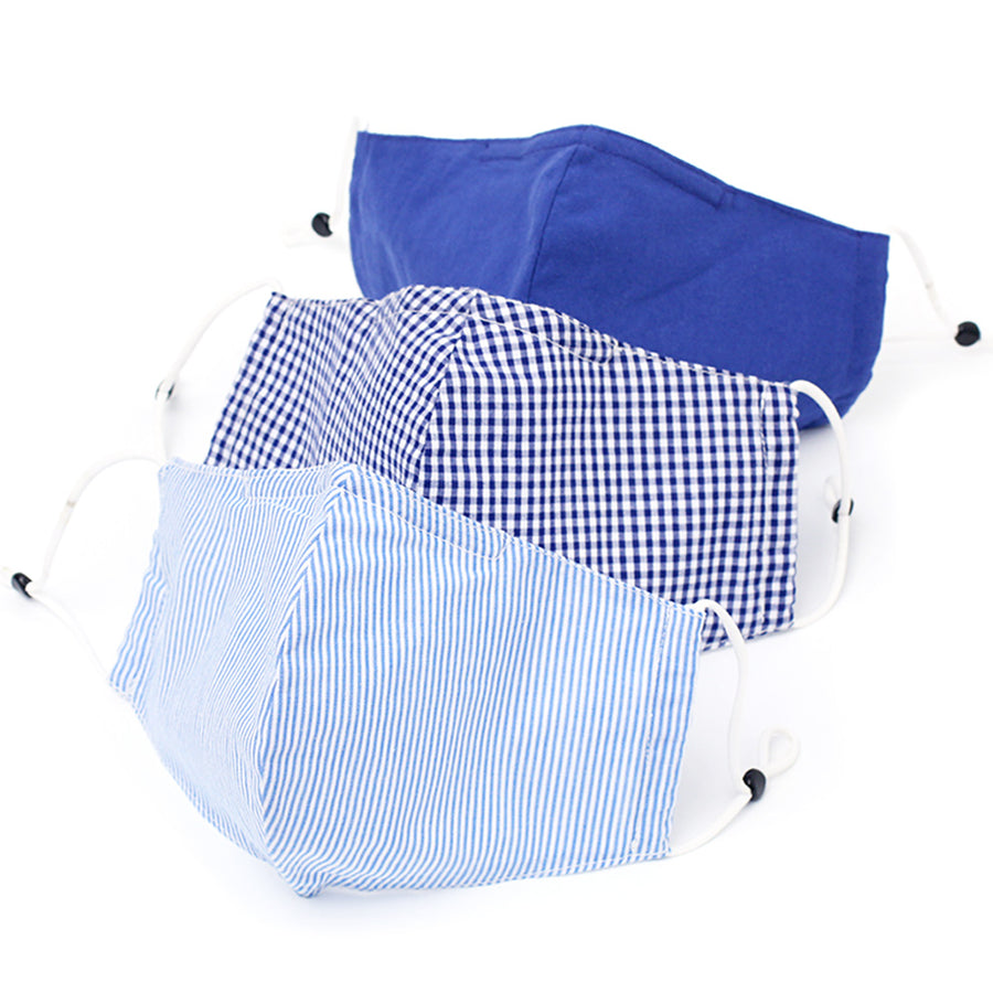 A pack of 3 Blue – Solid, Check, Stripe