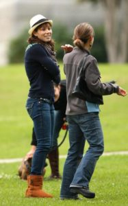 Jessica Biel on set wearing our famous sheepskin boots