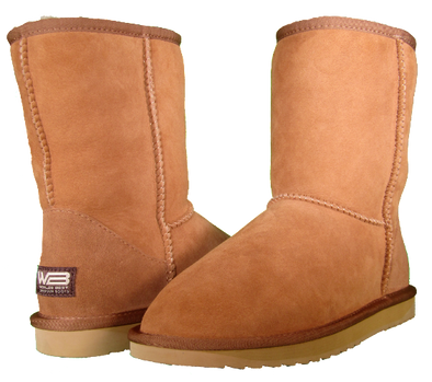 Both classic short sheepskin boots in chestnut