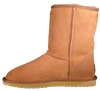 Side view of classic short sheepskin boots in chestnut