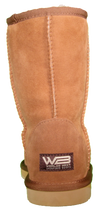 Rear view of classic short sheepskin boot in chestnut