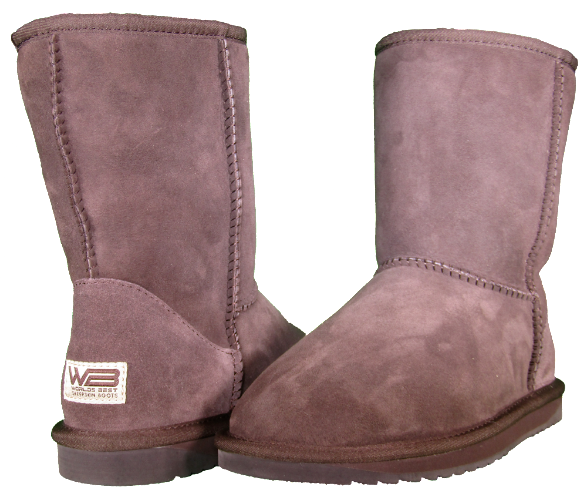 Both classic short sheepskin boots in chocolate