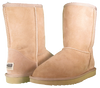 Both classic short sheepskin boots in sand