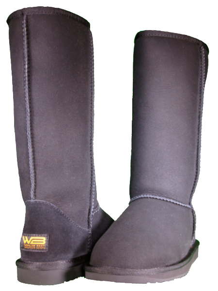 Both classic tall sheepskin boots in black