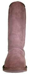 Classic tall sheepskin boots from the front in chocolate