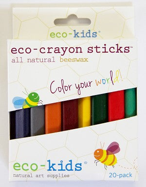 eco-kids® eco-crayon sticks™ are made in the USA with 100% pure beeswax, natural soy wax, and mineral pigments. These non-toxic crayons CPSIA compliant. Sold online at The Eco Baby Co™.