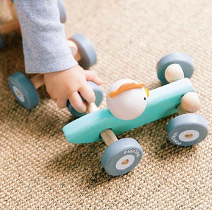 This eco-friendly & sustainable wooden race car has a turning wheel and axles that gives the same movement as a real race car when turning around.|This eco-friendly & sustainable wooden race car has a turning wheel and axles that gives the same movement as a real race car when turning around.