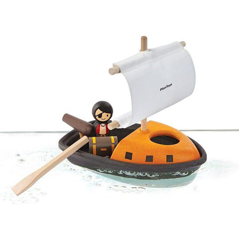 This pirate boat from Plan Toys is made sustainably from natural rubberwood and is painted with water-based organic pigments. Suitable for ages 2 years +.