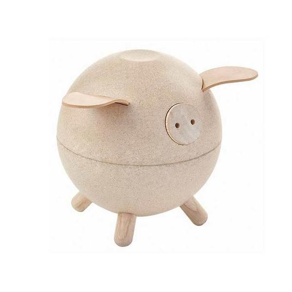 The Plan Toys piggy bank is made from sustainable rubberwood and is ethically made. It will help encourage math & fine motor skills. For children 3+. In white co