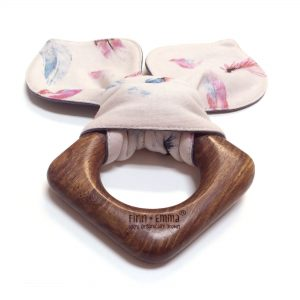 Finn + Emma® | Feather Teething Ears are made from Indian hardwood and finished with vegetable seed wax. My ears are made from organic cotton. Sold at Simply Natural Baby Store™.