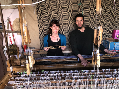 Grace with Master Weaver in Morocco