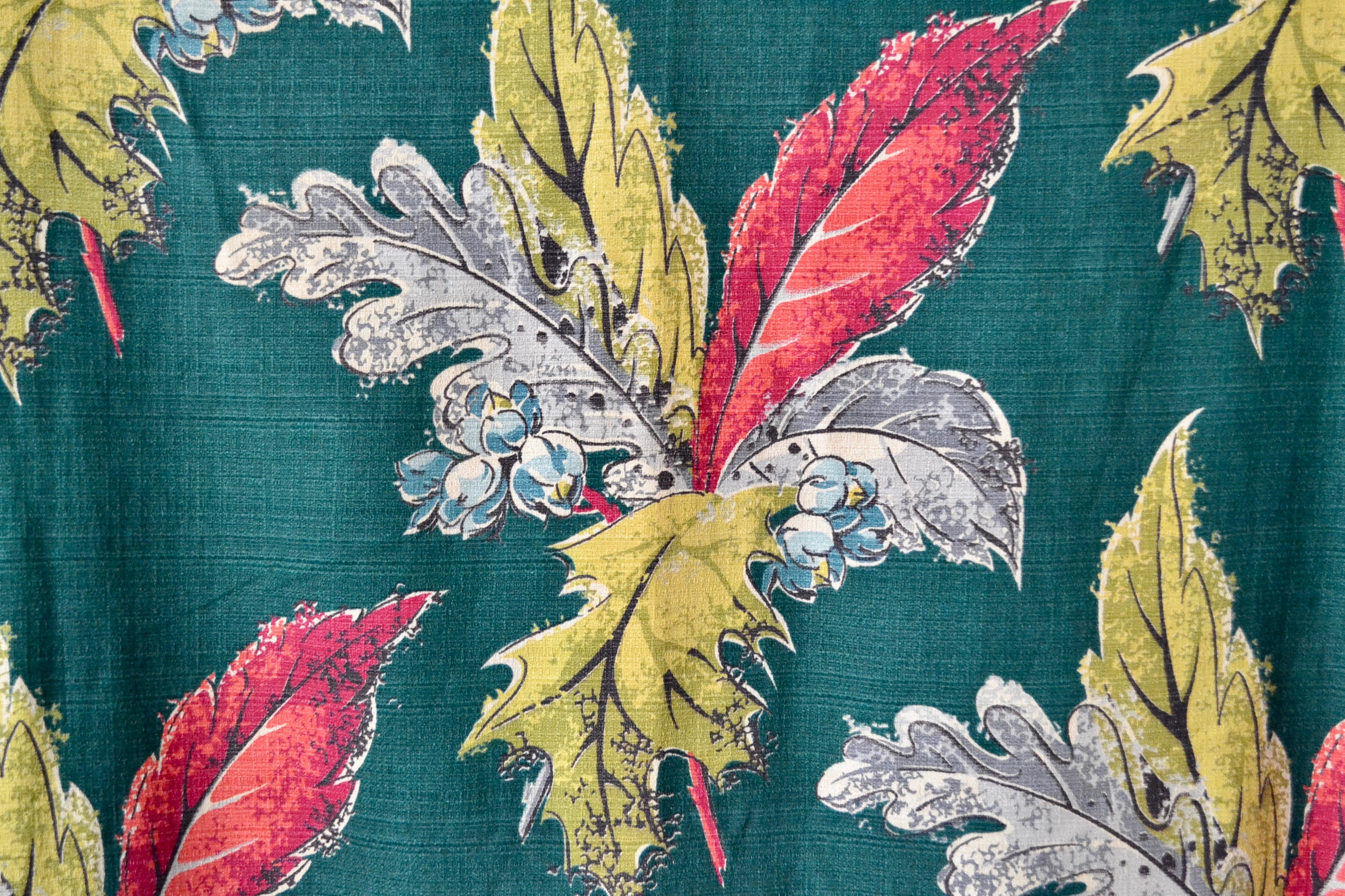 Vintage Mistletoe Barkcloth Curtain