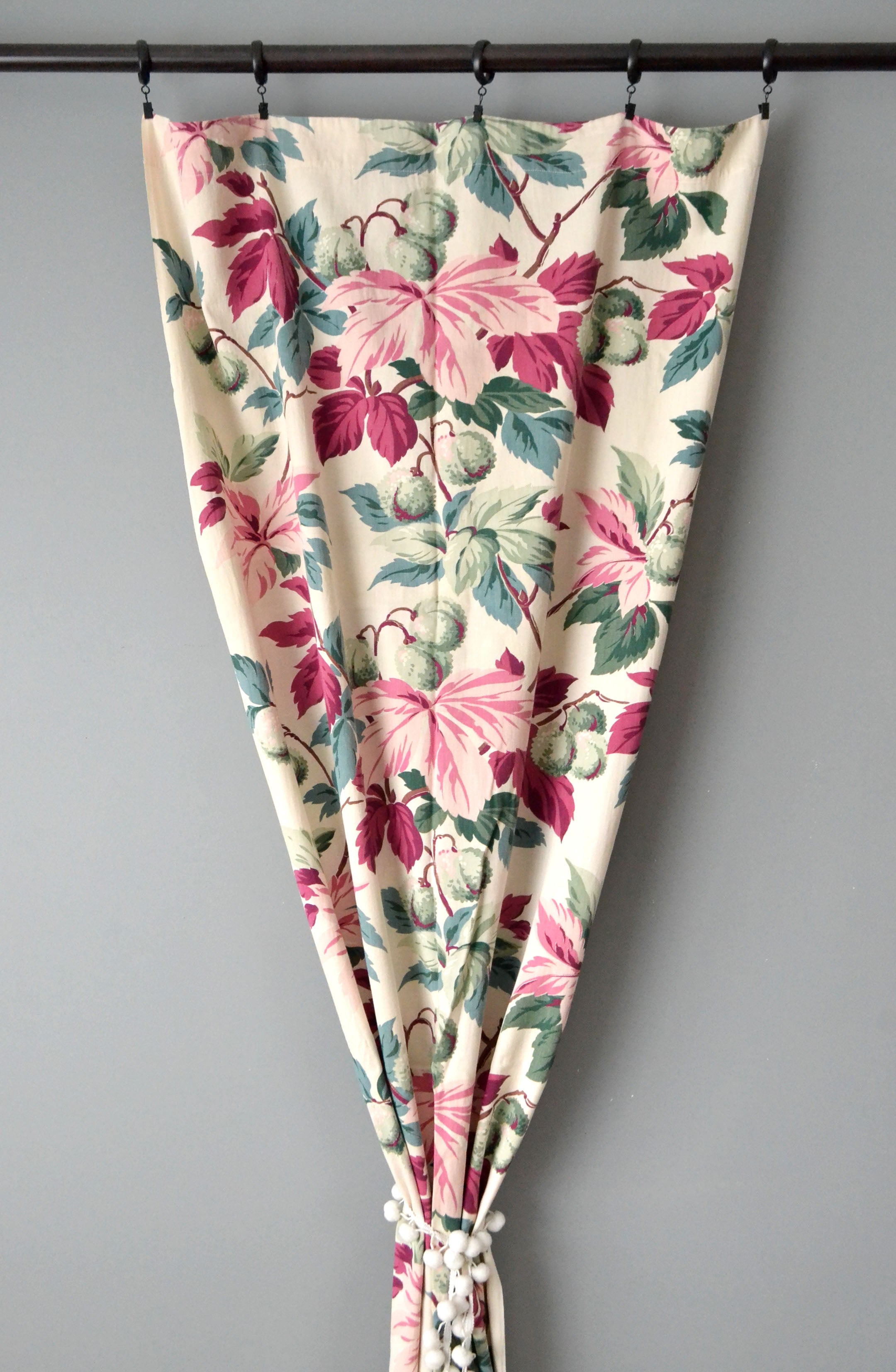 Vintage 40s Floral Cotton Curtains by Yuba Mercantile
