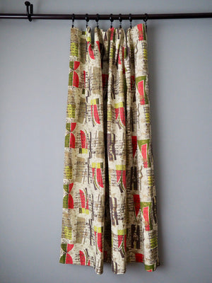 Vintage 50s Atomic Barkcloth Curtain Panels