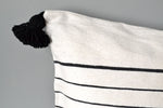 Black and White Stripe Moroccan Pom Pom Pillow by Yuba Mercantile