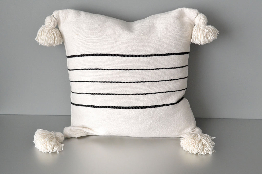Black Stripe on White Cotton Pom Pom Pillow by Yuba Mercantile
